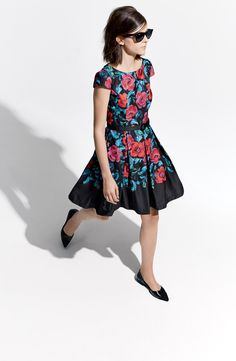 Adore the rich red and blue floral print on this fit & flare dress.