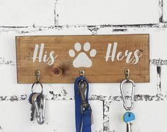 Couples Rustic Key and Lead Holder - His Hers Dog Hook - Key and Leash Hallway Organiser- Christmas Gift for Dog Owners Gifts For Dog Owners, Dog Lover Gifts, Dog Gifts, Dog Lovers, First Home Gifts, New Home Gifts, Rustic Signs, Wooden Signs, Dog Christmas Gifts