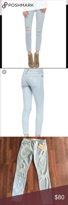 """Current/Elliott Stiletto Skinny Jeans Amazing pair of distressed light wash skinnies from Current/Elliott! Cropped at the ankle to show off your shoes! 92% cotton, 6% elastomutiester, 2% elastane. 27"""" inseam, 8.5"""" rise. Current/Elliott Jeans Skinny"""