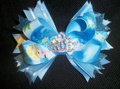 Princess Cinderella bow boutique 5 inch with rhinestone tiara center on Etsy, $8.00