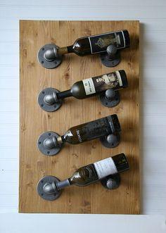 4-Bottle Industrial Rustic Pipe & Wood Wall Wine Rack
