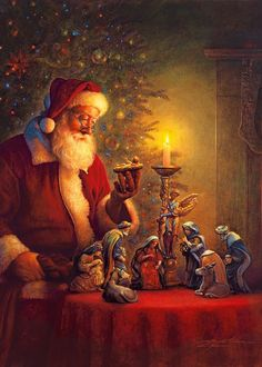 Santa reflects on the true meaning of Christmas.this is the REAL meaning of Christmas! Merry CHRISTmas to all of our family and friends. Christmas Scenes, Christmas Past, Father Christmas, Winter Christmas, Christmas Candle, Spirit Of Christmas, Christmas Prayer, Irish Christmas, Christmas Jesus