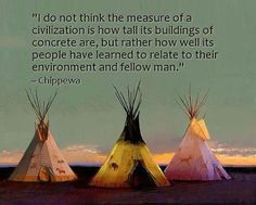 """""""I do not think the measure of a civilization is how tall its buildings of concrete are, but rather how well its people have learned to relate to their environment and fellow man.""""    Chippewa"""
