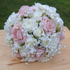 Blush Rose Gypsophila Collection - Brides Bouquet Blush rose artificial flowers bouquet made from a mixture of quality foam and silk roses. A beautiful keepsake of your special day! Silk Bridal Bouquet, Rose Wedding Bouquet, White Wedding Bouquets, Diy Wedding Flowers, Bride Bouquets, Bridal Flowers, Bridesmaid Bouquet, Pink Rose Bouquet, Boquet