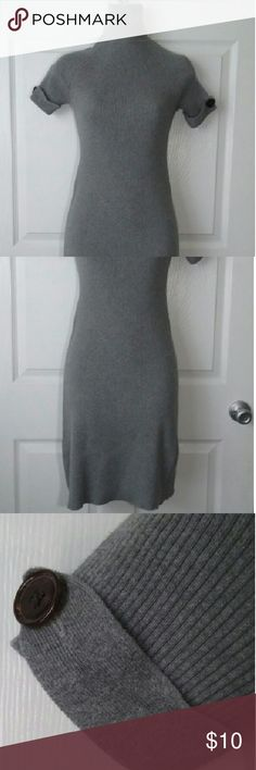 Bodycon Sweater Dress Fitting body dress, gray with turtoise shell buttoned straps on sleeves. Short-Sleeved. Great for that beautiful Fall weather! Knee length. Moda International Dresses Midi
