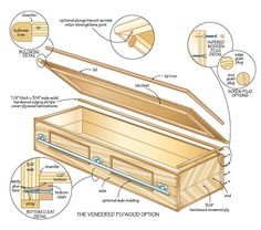 Learn how to build a handmade casket for a green funeral, includes step-by-step instructions, a plywood primer and detailed diagrams in the image gallery. Woodworking Plans, Woodworking Projects, Green Funeral, Halloween Coffin, Halloween Prop, Halloween Projects, Halloween Stuff, Halloween Ideas, Funeral Caskets