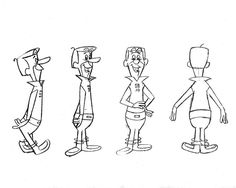 Model sheets for Hanna-Barbera's 1962 cartoon, The Jetsons: George, his boy Elroy, daughter Judy, Jane (his wife). Hanna Barbera, Character Model Sheet, Character Modeling, Character Drawing, Animation Sketches, Cartoon Sketches, Art Sketches, Simple Character, Character Concept