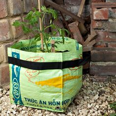Chicken Feed Bags! - as planters! - could make into nest box liners??