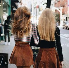 boho stylish besties - tan suede skirts and crop tops