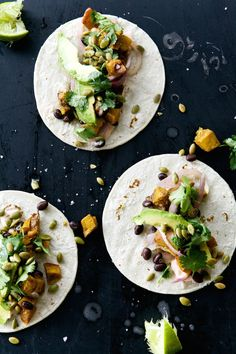 Have you ever heard the words pumpkin and tacos used together? We haven't either, but before you turn your nose up you simply have to read on to get the recipe for these Pumpkin Spice Tacos from Camille Styles, who never disappoints! Mexican Food Recipes, Vegetarian Recipes, Cooking Recipes, Healthy Recipes, Vegetarian House, Cooking Blogs, Vegetarian Tacos, Avocado Recipes, Pumpkin Recipes