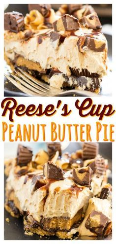 Reese Peanut Butter Pie, Peanut Butter Pie Recipe No Bake, Best Peanut Butter, Peanut Butter Desserts, Peanut Butter Cookies, Easy Desserts, Delicious Desserts, Brownies, Reeses Pie