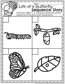 Butterfly Life Cycle Worksheet for Preschool Sequencing Activities, Preschool Learning Activities, Preschool Themes, Preschool Lessons, Preschool Worksheets, Science Lessons, Printable Worksheets, Printables, Kindergarten Science