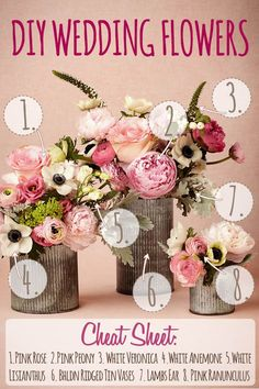 DIY Wedding Flower Arrangement recipe. Create this pink spring flower arrangement with pink roses, pink peony, white veronica, white anemone, white lisianthus, lambs ear, queen annes lace, pink ranunculus and rustic ridged tin vases from BHLDN. Full instructions in article.