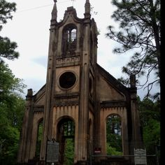 Old Gunn Church, Georgetown SC. One of South Carolina's haunted places. Haunted by the Architect that built it in 1859.  Apparently he fell front the top and screamed all the way down.  His screams are heard today.  More Info: http://www.gtowntimes.com/local/Ghosts--spirits-wander-Georgetown-County2010-10-27T08-57-25