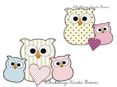 Eule Ursula mit Baby Eulen ♥ Doodle Stickdateien Set. Doodle owl with baby owls. Owl appliqué embroidery designs for embroidery machines.  #sticken #animal #eulenliebe #kids