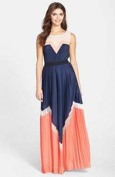 BCBGMAXAZRIA Katherine Colorblock Pleated Maxi Dress