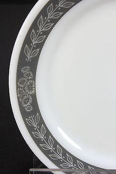 NOS Restaurant Ware Pyrex Tableware Corning Grecian 8 Luncheon Plates GRAY