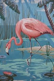 I have a love for flamingos. Vintage Paint By Number Flamingo Large x Flamingo Painting, Flamingo Art, Pink Flamingos, Pink Bird, Bird Art, Beautiful Birds, Painting Inspiration, Pet Birds, Vintage Art