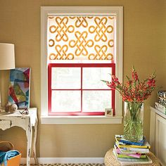 stenciled window shades, adds some pizzazz to those old  roller blinds