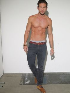 Still in perfect model shape, Adam Senn goes shirtless in this picture.
