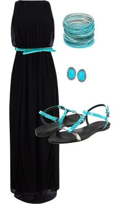 Black maxi dress w turquoise accessories. perfect outfit for a date night! Beauty And Fashion, Look Fashion, Passion For Fashion, Nail Fashion, Fashion Brand, Fashion News, Latest Fashion, Dress Outfits, Fashion Outfits