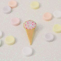 Ice cream cone enamel pin with candy limited by virginiemillefiori