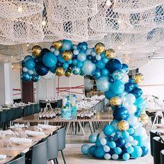 A beautiful custom coloured balloon garland at @hellenicrep Spectacular photography by @zbyzahrah #balloonsmelbourne #melbourneballoons #christeningballoons
