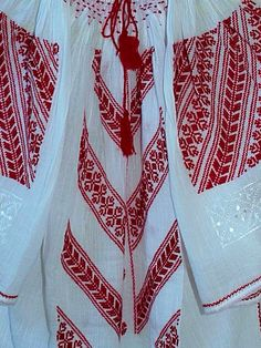 Wild passion! Traditional Romanian blouse beaded with red handmade embroidery ByAnilu. So seductive!