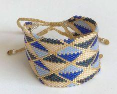 Ladrillo 2122 Beaded Bracelet Patterns, Peyote Patterns, Cuff Bracelets, Bead Crochet, Straw Bag, Beads, Handmade, Jewelry, Bracelets