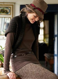 Winter browns.  How to wear a shrug. I never know what to do with them