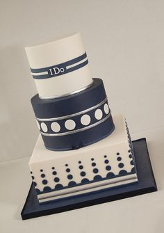 Geometric Ivory And Navy Wedding Cake This was a wedding cake I made this weekend for a couple who were having a blue and ivory as their. Navy Blue Wedding Cakes, Gay Wedding Cakes, Cupcakes, Cupcake Cakes, Pretty Cakes, Beautiful Cakes, Masculine Cake, White Cakes, Navy Cakes