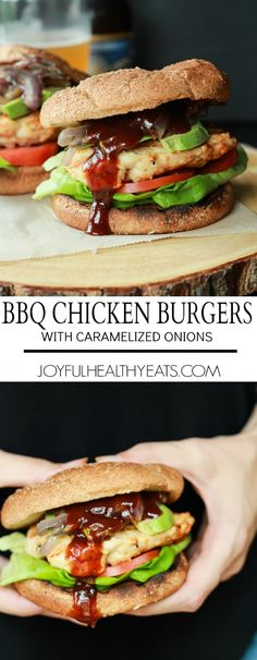 A juicy BBQ Chicken Burger topped with sweet Caramelized Onions, drizzled with savory BBQ Sauce, and creamy avocado. A grilling must try this summer! | joyfulhealthyeats.com #recipes #easydinnerrecipes