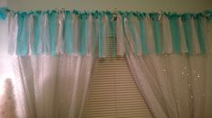 Disney Frozen inspired bedroom décor created for a client. Hand made window valance. Sparkle curtains from Walmart