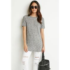 Forever 21 Forever 21 Women's  Ribbed Knit Marled Tee ($18) ❤ liked on Polyvore featuring tops, t-shirts, short sleeve tee, forever 21, forever 21 t shirts, ribbed knit top and short sleeve tops