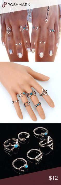 Boho 6Pcs Gypsy Rings Beautiful 6Pcs Bohemian Gypsy Rings 🔹 Size: Pre-assorted sizes 🔹 Material: Silver-tone Base Metal, Resin 🔹 Nickel & Lead Free 🔹 NWT Jewelry Rings