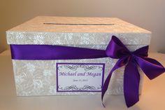 Wedding Card Box Purple Wedding Card by AmoreSpecialtiesLLC
