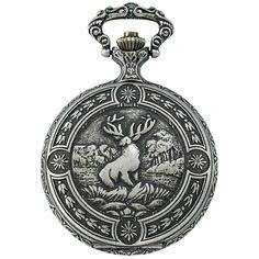 Gotham Men's Silver-tone Deer Hunter Day-date Quartz Pocket Watch # for sale online Hunter Day, Quartz Pocket Watch, Grandfather Clock, Watch Companies, Pocket Watches, Silver Man, Gotham, Deer, Pendant