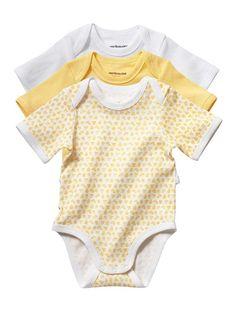 Lot de 3 bodies manches courtes bébé mixte LOT JAUNE+LOT VERT - vertbaudet enfant