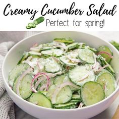 Easy Creamy Cucumber Salad is part of Cucumber salad - This Creamy Cucumber Salad recipe is a classic family favorite recipe Thinly sliced cucumbers and onion are tossed in a creamy vinaigrette for an easy side dish Salad Recipes Healthy Lunch, Best Salad Recipes, Cucumber Recipes, Salad Recipes For Dinner, Chicken Salad Recipes, Easy Salads, Easy Healthy Recipes, Fast Recipes, Recipe For Cucumber Salad