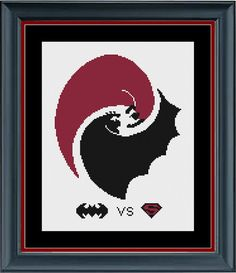Batman vs Superman Movie - Superhero Cross Stitch Pattern - INSTANT DOWNLOAD