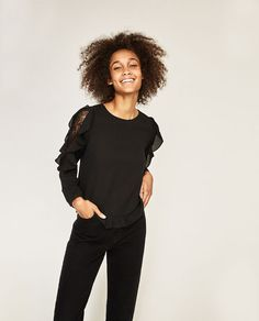 Image 1 of CONTRAST FRILLED TOP from Zara
