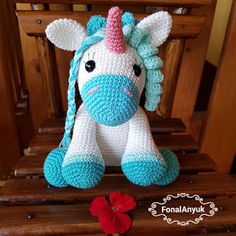 FONAL ANYUK: Horgolt unikornis Crochet Toys, Tweety, Dinosaur Stuffed Animal, Animals, Art, Label, Search, Amigurumi, Puppets