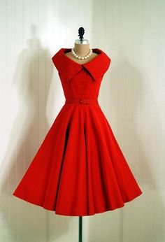 *1950s Exquisite Fiery Ruby-Red Textured Silk-Rayon *Seductive Wide High-Collar Button-Trimmed Plunge Sleeveless *Side-Pockets & Matching