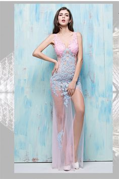c487ebaf58 Sexy V Neck High Slit Sheer See Through Pink Tulle Blue Lace Special  Occsaion… Prom · Prom Dresses Long ...