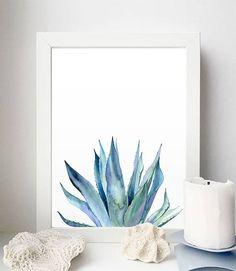 Anlage Drucken. Agave Pflanze. Flora Kunst. Pflanzen. Blau Pflanze. Aquarell Illustration. Blue Print. Pflanzen Druckbar. Natur-Kunst