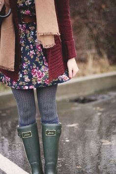 fashion, winter, autumn, spring, wellies, joules, floral dress, burgundy, outfit, scarf, wooly tights