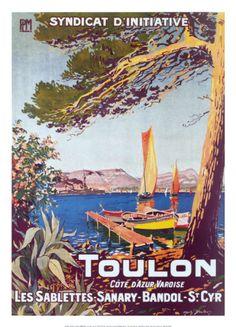 Vintage Travel Poster - France - Toulon