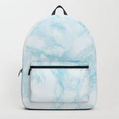 Elegant pastel blue white modern marble Backpack by Pink Water - STANDARD Cute Backpacks For School, Cute School Bags, Cute Mini Backpacks, Little Backpacks, Stylish Backpacks, Girl Backpacks, Leather Backpacks, Leather Bags, Bags For Teens