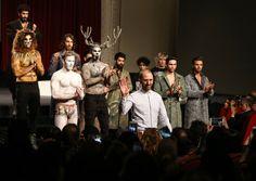 """ISTANBUL, TURKEY - MARCH 22: Models present a creation named """"Empathy"""" by fashion designer Can Yunus Cetinkaya during Mercedes-Benz Fashion Week Istanbul at Grand Pera in Istanbul, Turkey on March 22, 2017. ( Salih Zeki Fazlıoğlu - Anadolu Agency )"""
