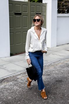 oversized button down + denim + mules.